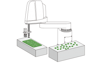 Scara roboty - montáž súčiastok