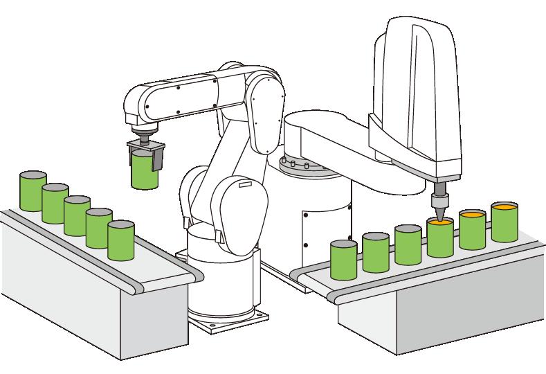 Scara roboty - plnenie