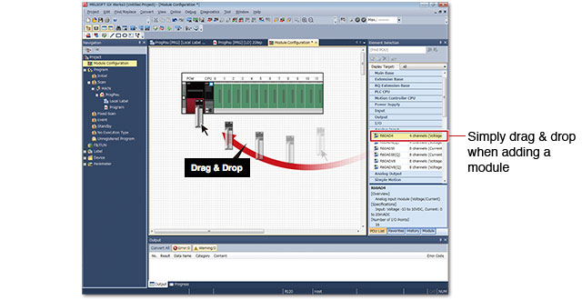 GX Works 3 - Drag & Drop funkcionalita